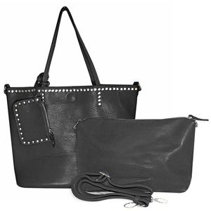 Studded Black Vegan Leather Women's Tote